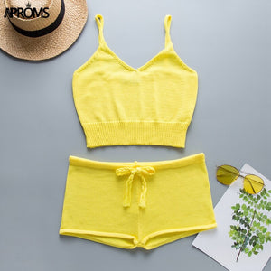 Multi Stripe Knitted Crop Top Shorts Women Loose 2 Pieces Set Summer Low Waist Shorts Beach Romper Outfit