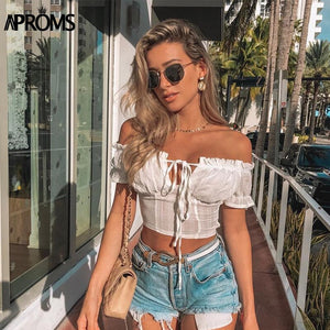Off Shoulder Women Tank Tops Summer Bow Tie Front Crop Top Streetwear Ruffle Lace Up Camisole White Tees