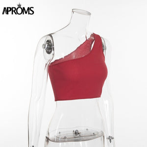 One Shoulder Cropped Tank Tops Knitted Crop Top Women Summer Streetwear Elastic Top Red Ribbed Cami 90S Cool Tees