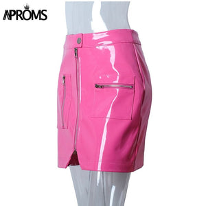 Pink Pu Leather Pencil Skirt Women Autumn Winter Short Mini Skirts Streetwear Front Zipper Skirt Bottoms
