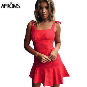 Red Blue Plaid Tie Up Dress Summer Square Collar High Waist Ruffle Sundress Women Slim Bodycon Mini Dresses Vestidos