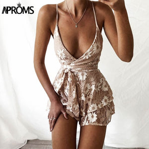 Deep V Lace Floral Playsuit Romper Tie Bow Jumpsuit Backless Bandage Summer Party Overalls Clothing