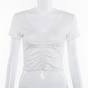 Long Sleeve Ruched White TShirt Women V Neck Stretch Basic Crop Top 90S Slim Cropped T Shirt Tee Tops