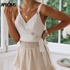Spaghetti Strap Women Tank Tops VNeck Casual Buttons Bow Tie Up Camisole Ladies Summer Camis Tees Tops
