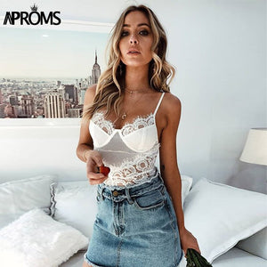 V Neck Lace Mesh Bodysuits Women Skinny Fit White Romper Jumpsuit Sleeveless Bodycon Bodysuit Top Clothing