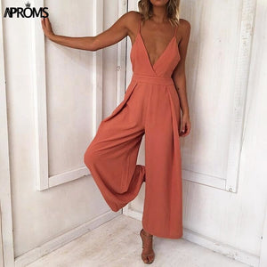 Solid Cut Out Jumpsuit Women V Neck Low Back Rompers Cool Streetwear Jumpsuits Overalls 'S Clothing