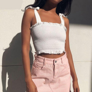 Solid Tie Bow Chiffon Camis Streetwear Tube Top Women Fashion Ruched Pleated Crop Top Bustier Tees Feamle Tank Tops