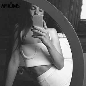 Streetwear Basic Camis Fashion Women Spaghetti Straps Knitted Ribbed Cropped Tank Top Short Elastic Bra TShirts Tee