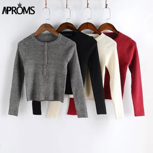 Strentch Knitted Cropped Pullovers Sweater Winter Long Sleeve Slim Crop Top Streetwear Buttons Warm Knitwear Jumper Pull