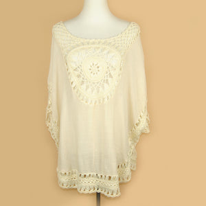 Summer Oversized Lace Crochet Knitted Blouses Women Boho Tunic Top Big Size Blusa Feminina Shirt Tropical Tops 40430