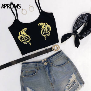 Summer Printed Elastic Camis Casual Sleeveless Crop Top Women Streetwear Fashion 90'S Basic Slim Fit Bustier Femme