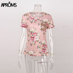 Sweet Floral Print Bandage TShirt Women Fashion Sequined Pocket T Shirt Casual Short Sleeve Slim Fit Top Tee
