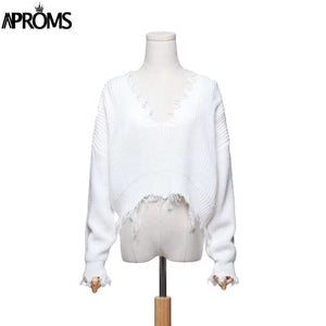 Tassel Deep V Knitted Pullover Autumn Winter White Long Sleeve Knit Crochet Sweaters Women Cropped Jumper Pull Top