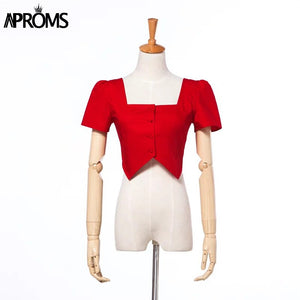 Vintage Red Square Neck Buttons Cropped Blouse Women Backless Elastic Shirt Tee Summer Crop Top Clothing