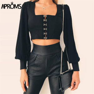 Vintage Square Neck Long Sleeve Crop Top Women Backless Bow Tie Up Black Blouse Summer Streetwear Tops Blusas