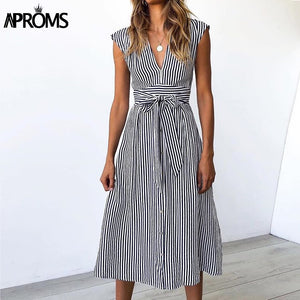 Vintage Stripe Print Midi Dress Women Deep V Sash Tie Up Bodycon Dresses Summer Streetwear Sundresses