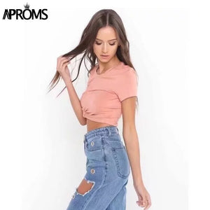 White Knot Short Sleeve Tee Women TShirt Fashion High Waist Basic Crop Top 90S Cool Summer Streetwear T Shirt