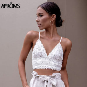 White Lace Crochet Camisole Cami Women Summer Backless Bow Tie Up Tank Tops Streetwear Fashion Pink Crop Top