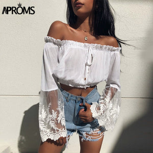 White Lace Crochet Crop Top Off Shoulder Flare Sleeve Tank Tops Women Short Tees Casual 90S Cool Streetwear Tops