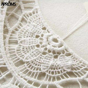 White Lace Crochet Knitted Blouse Shirt Boho Summer Hollow Out Beach Bikini Cover Up Casual Tops Clothing