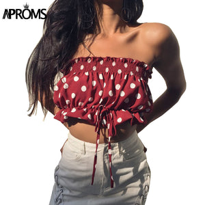 White Polka Dot Print Crop Top Women Summer Camis Strapless Off Shoulder Tube Streetwear Bow Tie Up Tank Tops