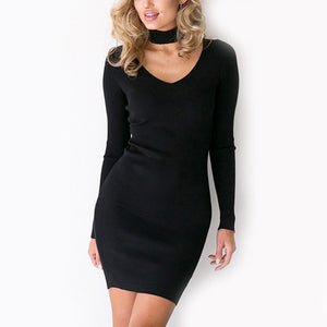 Winter Dress Women Long Sleeve Party Black Knitted Dress Casual Bodycon Dress Vestidos Short Sweater Dresses