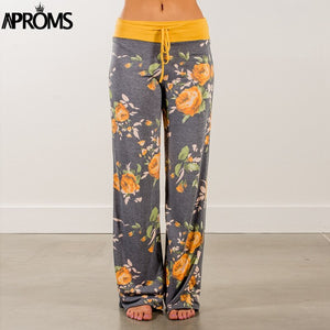 Yellow Color Blocked Wide Leg Pants Women Summer Streetwear High Waist Pants Elastic Casual Drawstring Long Trousers