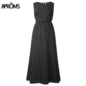 Yellow White Dot Print Long Maxi Dress Women Summer Casual Elastic High Waist Sleeveless Dresses Plus Size Sundress
