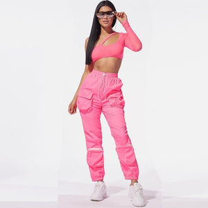 Autumn Casual Two Piece Set Women Sexy Club Outfits One Shoulder Long Sleeve Crop Top Pants Set Pink 2 Piece Set Women Tracksuit