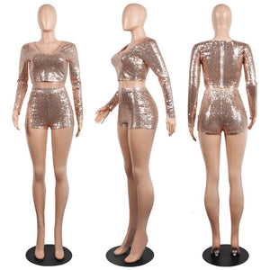 Autumn Long Sleeve Sexy Sequin Two Piece Set Women V Neck Sparkly Crop Top Shorts Set 2 Piece Party Club Outfits Clothes