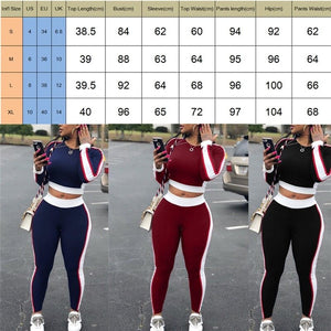Autumn Fashion Women Casual Sports Set Crop Top Pants Outfit Yoga Workout Gym Fitness Athletic Workout Clothes Tracksuit