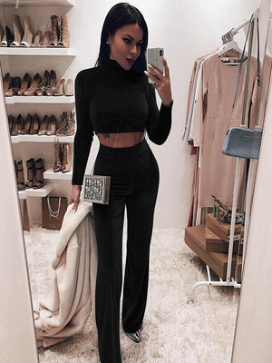 Autumn Fashion Women Casual Velvet Sports Tracksuit Long Sleeve Turtleneck Lounge Wear Athletic Clothes Pants Set