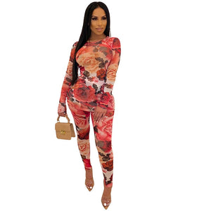 Autumn Sexy 2 Piece Set Women Floral Mesh Two Piece Set Top Pants Party Club Outfits Festival Bodycon Matching Set Tracksuit