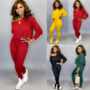 Autumn Spring Women Casual Solid Colors Sports Outfits Basic Long Sleeve Top Pants Set Casual Suits Outwear Plus Size
