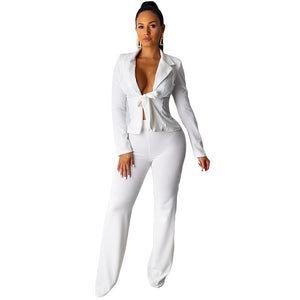 Autumn Winter Casual Two Piece Blazer Set Women Pant Suit Set Jacket Top Pants Set Ladies Trouser Suit Office 2 Piece Outfit