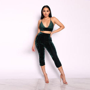 Autumn Winter Sexy Velvet Suit Women Party Clubwear Two Piece Sets Outfits Lace Crop Top Bra Cropped Pants Trouser Suits