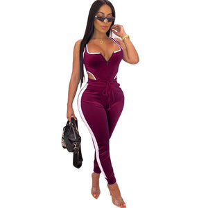 Autumn Winter Women's Set Velvet Bodysuit Pencil Pants Suit Fitness Sporting Two Piece Set Sexy Street Casual Tracksuit Outfit