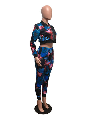 Autumn Women Tracksuit Two Piece Set Top Pants Floral Print Cropped Jacket Casual Sport Jogging Fitness Workout Sweat Suit