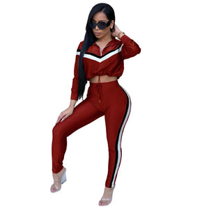 Autumn Women Two Piece Sets 2020 Tracksuit Outfits Sport Suit Woman Drawstring Sweatshirt Crop Top 2 Piece Pants Sets Sweat Suit