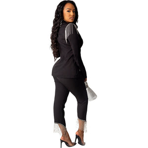 Autumn Work Office Blazer Suit Women Casual Two Piece Set Top Pants Tassel Button Trouser Suit Set Clothing