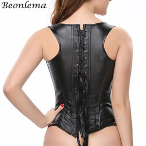 10 Steel Bones Black Corset Vest Faux Leather Tight Up Busking Corset Clubwear Body Slimming Underbust Waist Trainer
