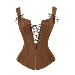Black Red Strapped Leather Corset Lace Up Top Bustier Deep V Neck Bustino Waist Trainer Espartilhos Corses Mujer