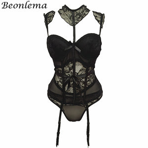 See Through Red Lingerie Corset Bra Belt Floral Lace Bustiers Strappy Transparent Underwear Women