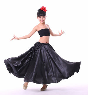 Baby Dance Costumes Spanish Flamenco Skirt Satin Solid Red Stage Wear Performance Dress Plus Size Swing Ballroom Skirt