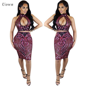 Backless Halter Sequin Crop Top Skirt Set Women Two Piece Sets Sexy Hollow Out Party Night Club Wear 2 Piece Dress Outfits