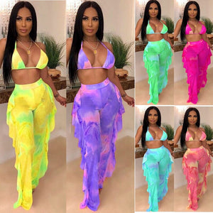 Beach Sexy Two Piece Set Women Summer Clothes Mesh Bikini Top Ruffles Long Pants Set Swimwear Matching 2 Piece Sets Club Outfits