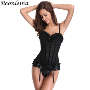 Black Corsage Lace Dot Sweet Bustier Corsets Women Tops Overbust Lingerie Adjustable Stocking Belt Korset