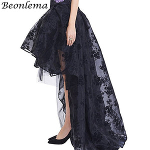 Floor Length Mesh Skirt Red Long Maxi Skirts Women 6Xl High Low Elastic Skirt Floral Tulle Dancing Corset Matching