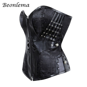 Gothic Women Corset Waist Modeling Bustiers Steampunk Corsets Tight Lacing Black Goth Fuax Leather Korset S2Xl
