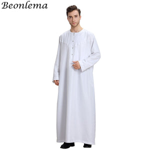 Beonlema Muslim Dress Kaftan Dubai Musulman Long Sleeves White Thobes Islamic Homme Clothing Summer Islamic Clothing Men Robes